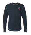 J America L/S Thermal Shirt in Navy/white