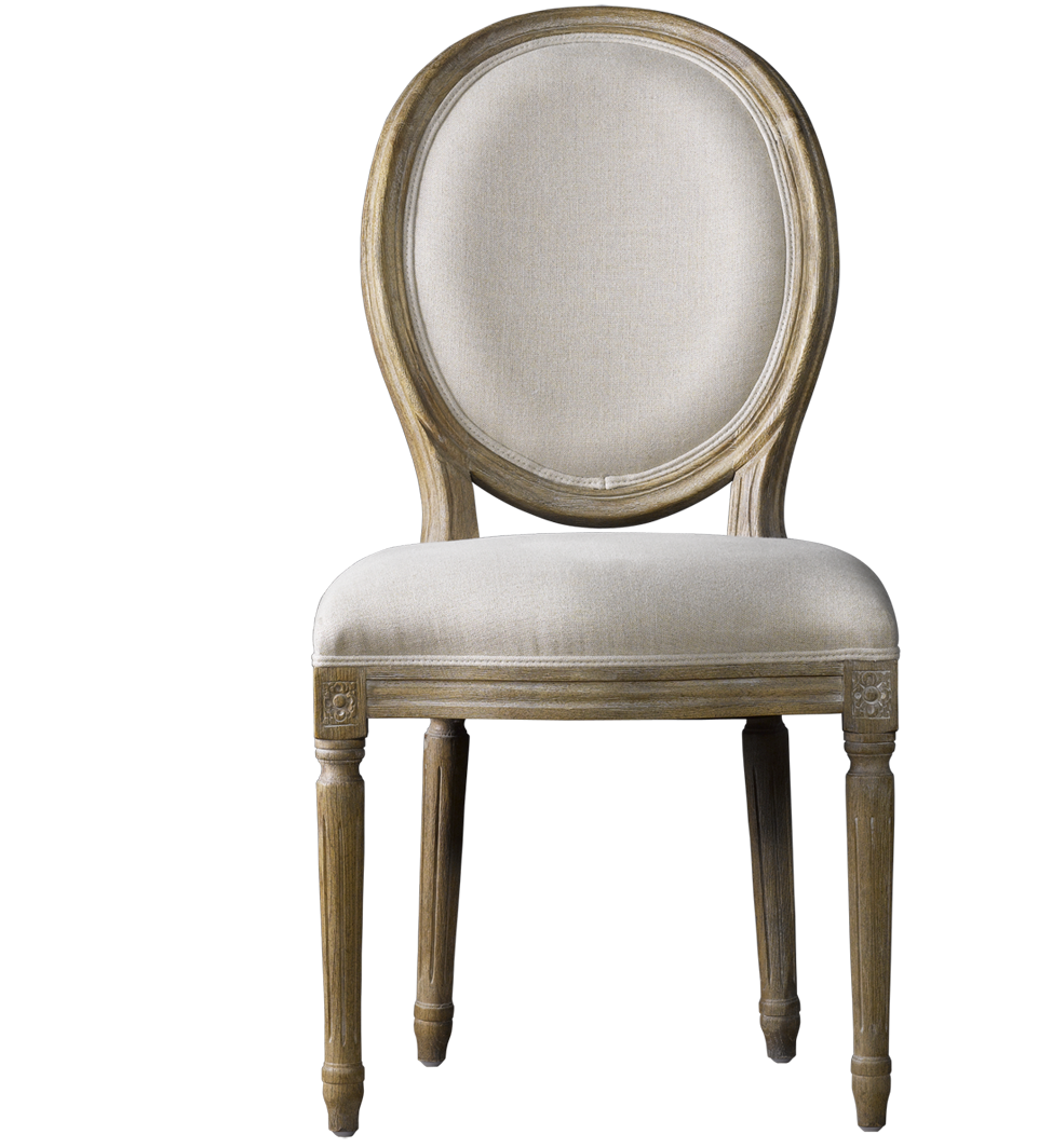Louis Vintage Round Dining Side Chair- Linen  sc 1 st  Zin Home & Louis Linen Upholstered Side Chairs | Zin Home