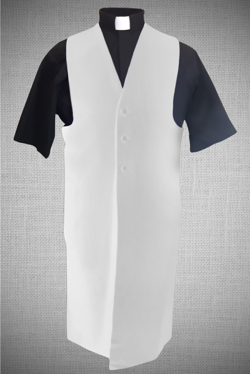 Mens Long Clergy Vest In White