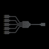 Coolermast-Coolermaster 1-to-5 Rgb Splitter Cable For Addressable Rgb Fan And Rgb Strip SKU MFX-AWHN-1NNN5-R1