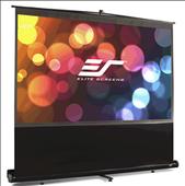 Elite Screens-80 Portable 169 Pull-up Projector Screen Floor Pull Up Swivel Legs Ezcinema SKU F80NWH