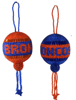 Denver Broncos or Boise State Christmas ball.