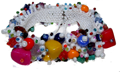colorful, festive, fun magnetic clasp bracelet with safety chain