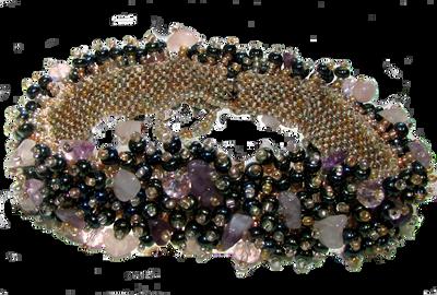 Handmade Jewel tone magnetic clasp seed bead bracelet