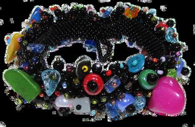 Beautiful Black Multi Color Magnetic clasp Bracelet Handcrafted