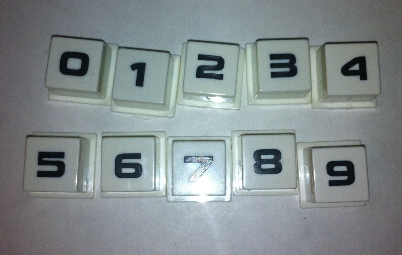 Button Set, 0-9 for Rowe Jukebox