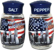 USA Flag With New York Words and Skyline Salt & Pepper Shakers