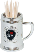 I Love NY Silver Toothpick Holder