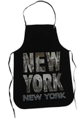 NY Black B&W Photo Skyline Letters Apron