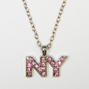 NY Pink Rhinestone Letter Necklace