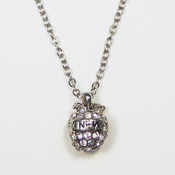 NY 3D Rhinestone Apple Charm Necklace