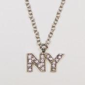 NY Rhinestone Small Letter Necklace