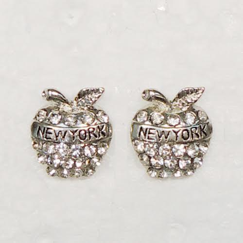 NY Apple Rhinestone Earrings photo