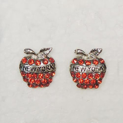 NY Apple Red Rhinestone Earrings Photo