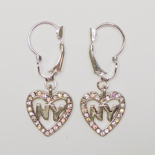 NY Heart Rhinestone Hanging Earrings photo