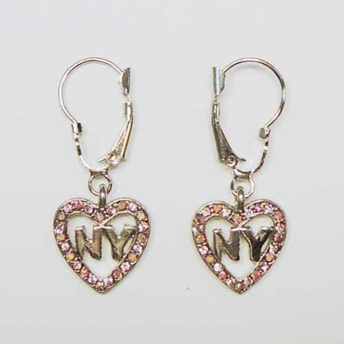 NY Heart Pink Rhinestone Hanging Earrings photo