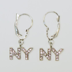 NY Pink Rhinestone Letters Hanging Earrings Photo