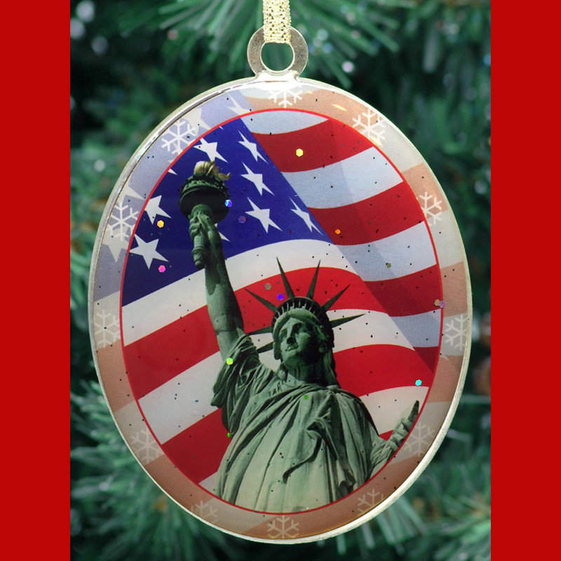 Statue of Liberty American Flag Christmas Ornament photo