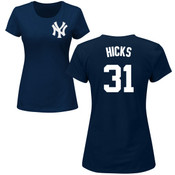 Aaron Hicks Ladies T-Shirt - Navy NY Yankees Womens T-Shirt