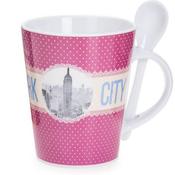 New York Polka Dotted 13 oz. Mug- Pink Base