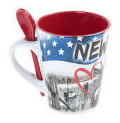 NYC Stars and Stripes 13 oz. Mug with Spoon- Red