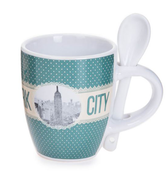 New York Polka Dotted Mug- Green Base
