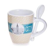 New York Polka Dotted Mug- Yellow Base