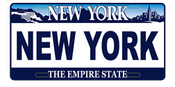 New York License Plate Magnet- White