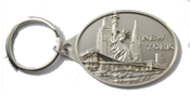 Oval Shaped Silver New York Key Chain