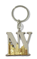 NY Lettering Silver and Gold Metal Key Chain  Photo
