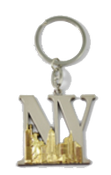 NY Lettering Silver and Gold Metal Key Chain