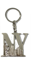 NY Lettering Silver Metal Key Chain  Photo
