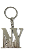 NY Lettering Silver Metal Key Chain