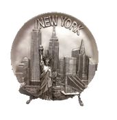 New York Statue of Liberty & Buildings Souvenir Plate- Silver 8""
