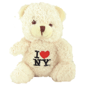 I Love NY Cream Small Sized Hairy Plush Teddy Bear
