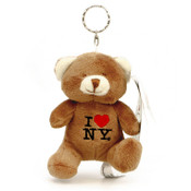 I Love NY Brown Plush Teddy Bear Key Chain