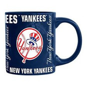 NY Yankees Navy All Over Lettering Mug