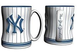 Yankees Logo White & Navy Pinstripe Mug  Photo