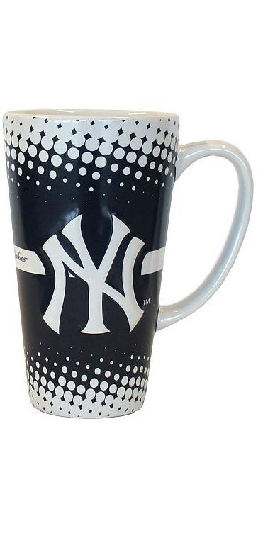 Yankees White & Navy Dotted Java Mug photo