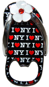 I Love NY All Over Black Bottle Opener Sandal Magnet