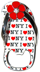 I Love NY All Over White Bottle Opener Sandal Magnet