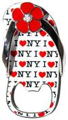 I Love NY All Over White Bottle Opener Sandal Magnet