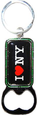 I Love NY Black Bottle Opener Rectangle Key Ring  photo