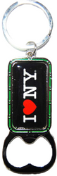 I Love NY Black Bottle Opener Rectangle Key Ring