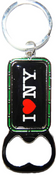 I Love NY Black Bottle Opener Rectangle Key Ring