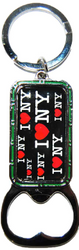 I Love NY All Over Black Bottle Opener Rectangle Key Ring