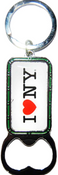 I Love NY White Bottle Opener Rectangle Key Ring