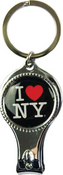 I Love NY Black Round Nail Clipper Key Chain