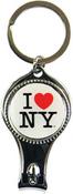I Love NY White Round Nail Clipper Key Chain