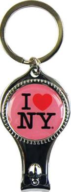 I Love NY Pink Round Nail Clipper Key Chain photo